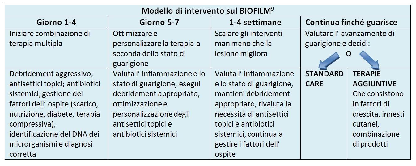 modello di intervento sul biofilm